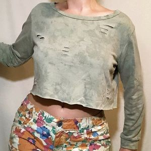 Caution to the Wind pale green distressed crop top
